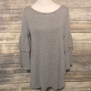 Tops - Gray top with ruffle sleeve
